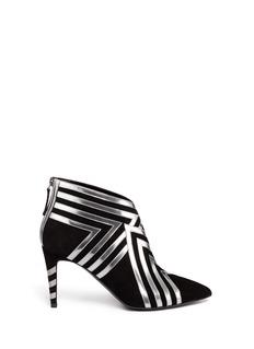 PIERRE HARDYMetallic leather stripe suede ankle boots