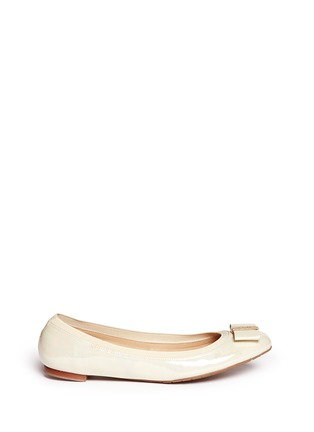 Main View - Click To Enlarge - Kate Spade - 'Tock' bow patent leather ballerina flats
