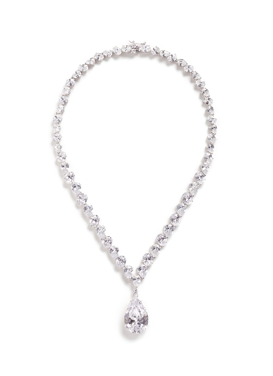 Cubic zirconia pear pendant necklace by CZ by Kenneth Jay Lane