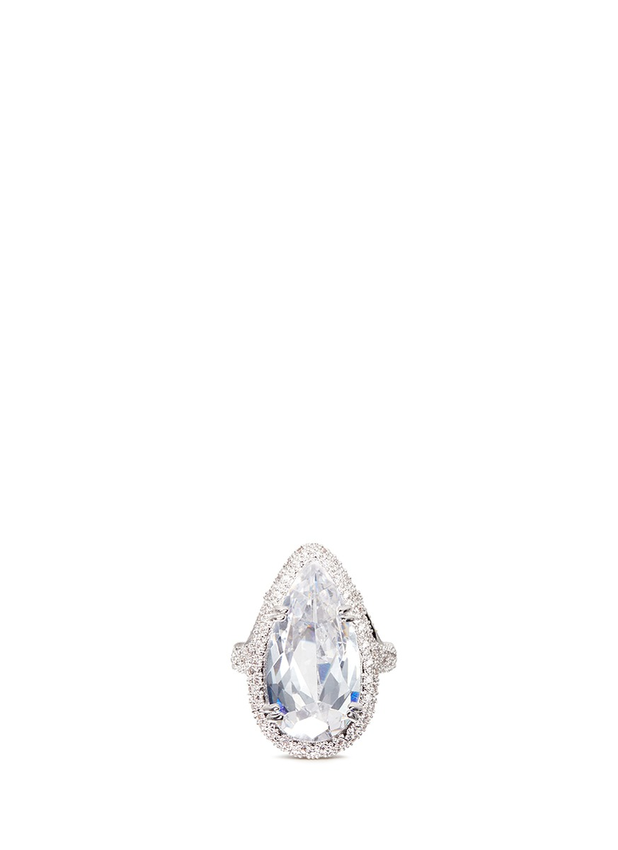 Pear cut cubic zirconia pavé statement ring by CZ by Kenneth Jay Lane