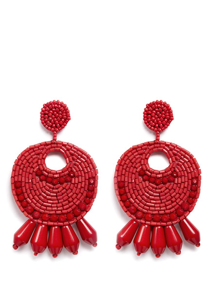 kenneth jay lane female beaded gypsy hoop clip earrings