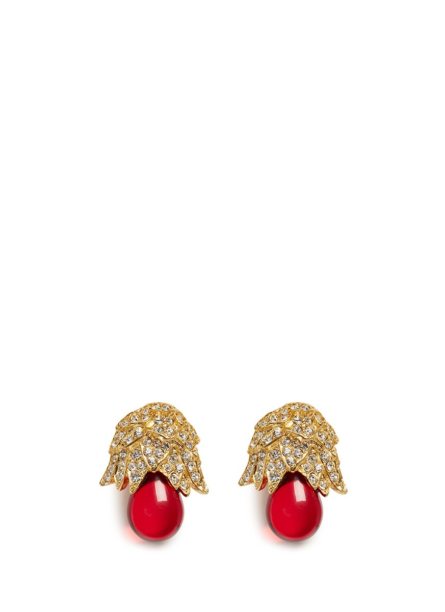 Gold plated crystal pavé resin drop clip earrings by Kenneth Jay Lane
