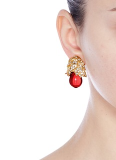 Kenneth Jay Lane Gold plated crystal pavé resin drop clip earrings