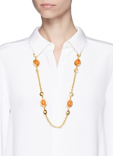 Kenneth Jay LaneResin bead glass crystal gold plated chain necklace