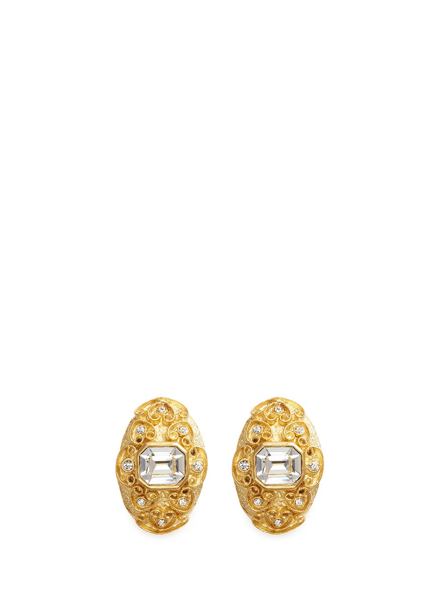 Glass stone swirl filigree gold plated clip earrings by Kenneth Jay Lane