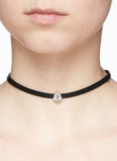 CZ by Kenneth Jay Lane Cubic zirconia faux leather choker necklace