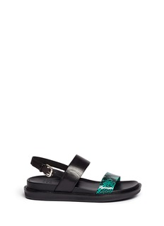 PEDDER REDPython print band leather sandals