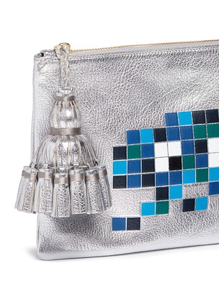 Detail View - Click To Enlarge - Anya Hindmarch - 'Space Invaders Georgiana' embossed metallic leather clutch