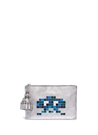 Main View - Click To Enlarge - Anya Hindmarch - 'Space Invaders Georgiana' embossed metallic leather clutch