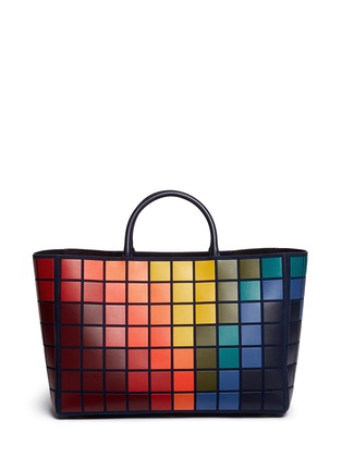 Back View - Click To Enlarge - Anya Hindmarch - 'Pixels Maxi Featherweight Ebury' patchwork suede tote