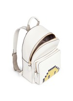 'Pixel Smiley Mini' embossed leather backpack