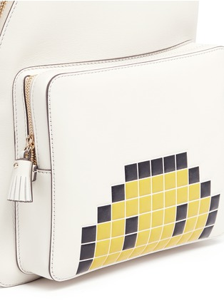 Detail View - Click To Enlarge - Anya Hindmarch - 'Pixel Smiley Mini' embossed leather backpack