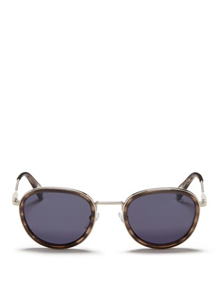 Main View - Click To Enlarge - Lanvin - Herringbone chain temple tortoiseshell acetate round sunglasses