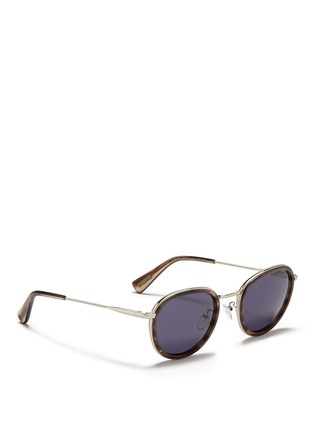 Figure View - Click To Enlarge - Lanvin - Herringbone chain temple tortoiseshell acetate round sunglasses