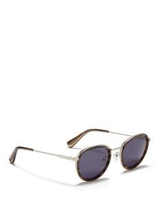 LanvinHerringbone chain temple tortoiseshell acetate round sunglasses