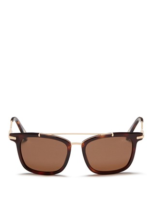 Main View - Click To Enlarge - Lanvin - Herringbone chain temple tortoiseshell acetate square sunglasses