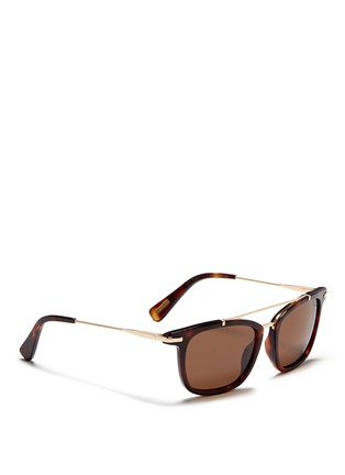 Figure View - Click To Enlarge - Lanvin - Herringbone chain temple tortoiseshell acetate square sunglasses