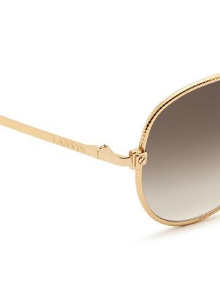 Detail View - Click To Enlarge - Lanvin - Herringbone chain rim metal aviator sunglasses