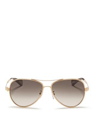 Main View - Click To Enlarge - Lanvin - Herringbone chain rim metal aviator sunglasses