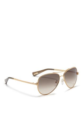 Figure View - Click To Enlarge - Lanvin - Herringbone chain rim metal aviator sunglasses
