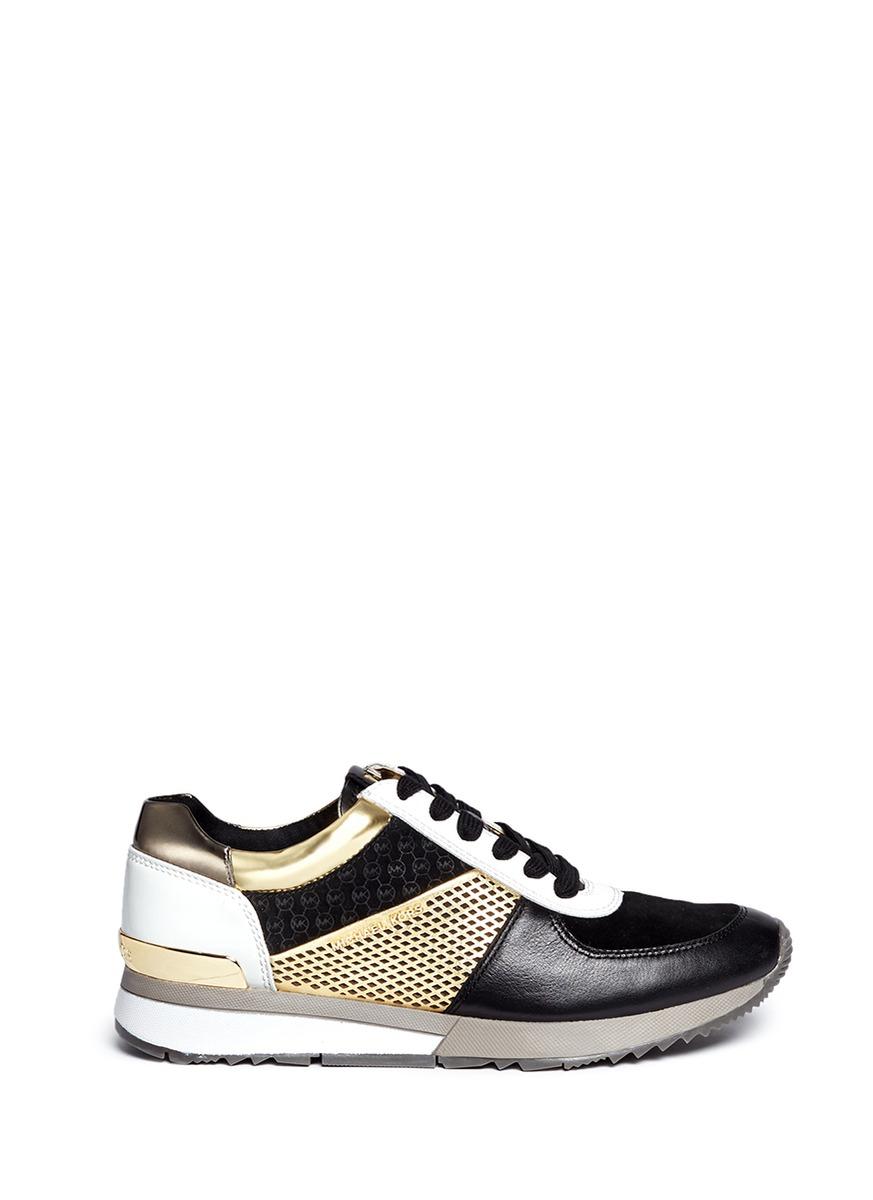 michael kors female  allie colourblock patchwork leather sneakers