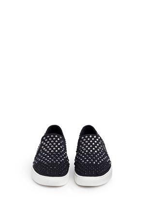 Front View - Click To Enlarge - Michael Kors - 'Keaton' embellished scuba skate slip-ons