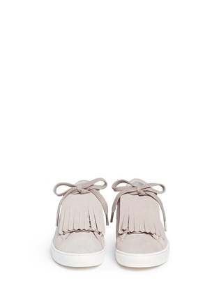 Front View - Click To Enlarge - Michael Kors - 'Keaton' kiltie flap suede sneakers
