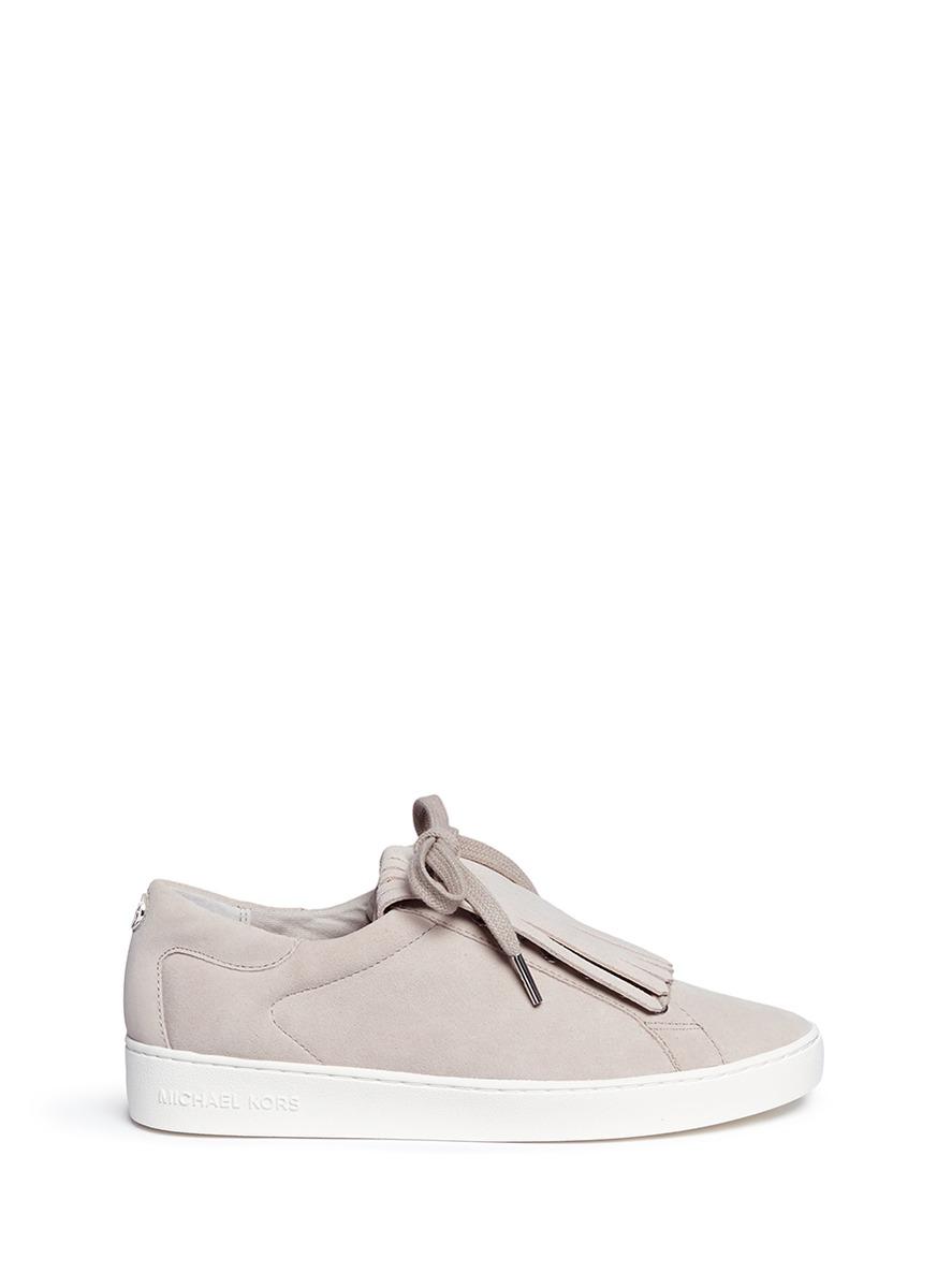 michael kors female 45906 keaton kiltie flap suede sneakers