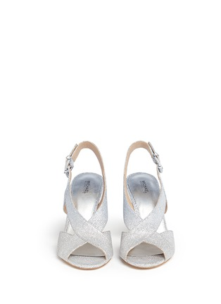 Front View - Click To Enlarge - Michael Kors - 'Becky' metallic glitter lamé slingback sandals