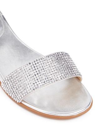 Detail View - Click To Enlarge - Michael Kors - 'Eleanor' strass satin metallic slide sandals