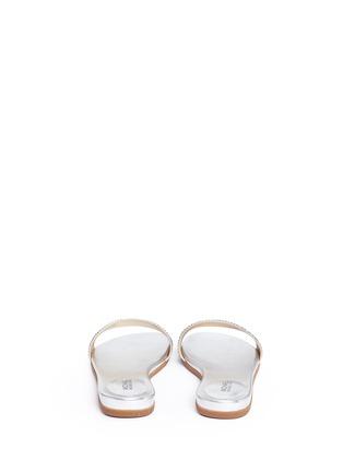 Back View - Click To Enlarge - Michael Kors - 'Eleanor' strass satin metallic slide sandals