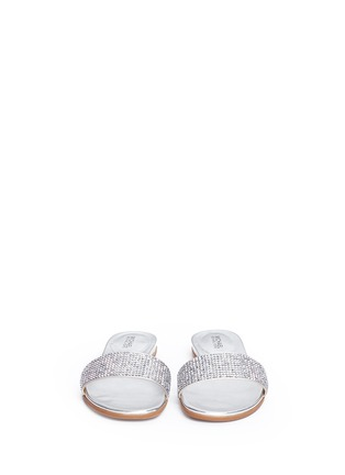 Michael Kors-'Eleanor' strass satin metallic slide sandals