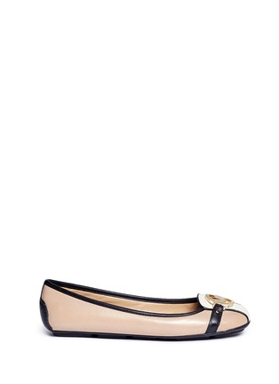 Main View - Click To Enlarge - Michael Kors - 'Fulton' logo plaque colourblock leather flats