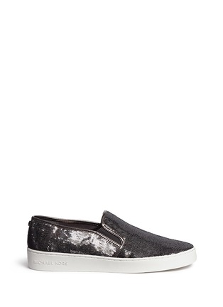 Main View - Click To Enlarge - Michael Kors - 'Keaton' metallic sequin slip-ons