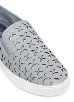 'Keaton' perforated floral leather slip-ons
