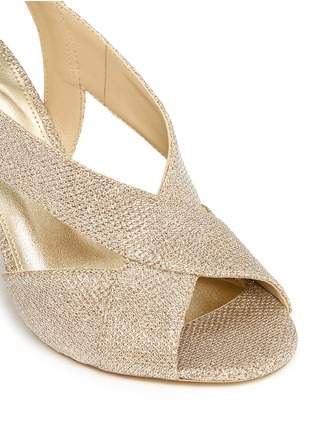 Detail View - Click To Enlarge - Michael Kors - 'Becky' metallic glitter lamé slingback sandals
