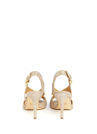 Back View - Click To Enlarge - Michael Kors - 'Becky' metallic glitter lamé slingback sandals