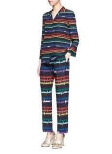GucciRainbow print silk pyjama pants