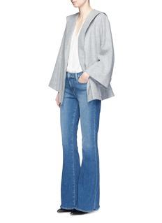 VinceV-neck silk georgette pintuck blouse