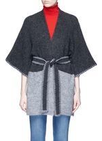 'Rikkie' chevron trim wool blend poncho