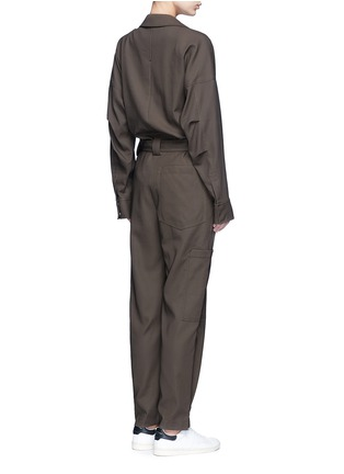 Back View - Click To Enlarge - Helmut Lang - Tie waist utility cotton twill jumpsuit