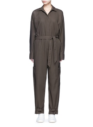 Main View - Click To Enlarge - Helmut Lang - Tie waist utility cotton twill jumpsuit