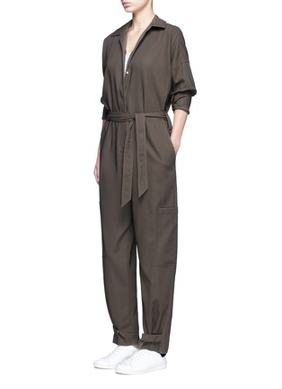 Figure View - Click To Enlarge - Helmut Lang - Tie waist utility cotton twill jumpsuit