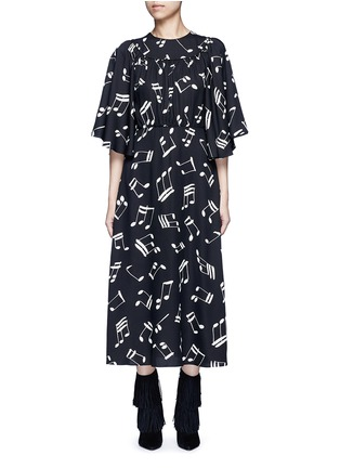 Main View - Click To Enlarge - Saint Laurent - Musical note print midi dress