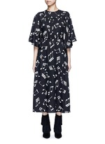 Musical note print midi dress