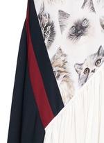 'Ilona' stripe cat print asymmetric silk dress