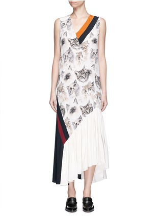 Main View - Click To Enlarge - Stella McCartney - 'Ilona' stripe cat print asymmetric silk dress
