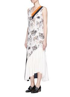 Stella McCartney'Ilona' stripe cat print asymmetric silk dress