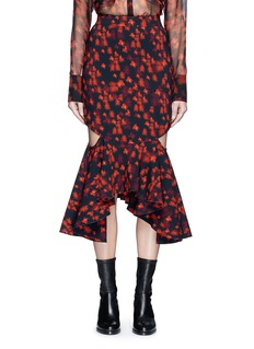 GivenchyCutout mermaid hem floral print skirt