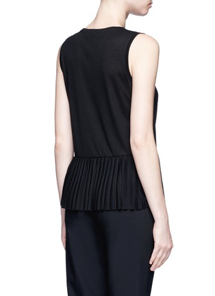 Back View - Click To Enlarge - Theory - 'Elvnee' plissé pleat peplum jersey top